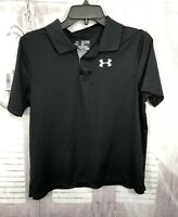 Under Armour Boys Youth Polo Shirt Loose Fit Heat Gear S/S Black Sz YXL XL
