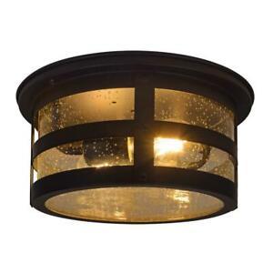 Sylvania Cambridge 2-Light Antique Black Ceiling Flushmount w/ 2 Edison Bulbs