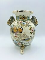 """Vintage Chinese 7"""" Vase Hand Painted with Mandarin Ducks & Fu Dogs Handles"""