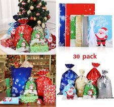 30pcs Christmas Gift Bags Santa Printed Packaging Xmas Treat Foil String Bag US