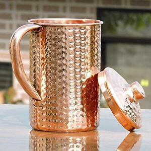 Hammered Copper Jug Water Storage Pitcher Vessel With Lid For Good Health-1.7L