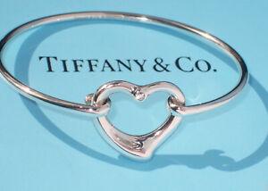 Tiffany & Co Elsa Peretti Diamond Sterling Silver Open Heart Bangle Bracelet