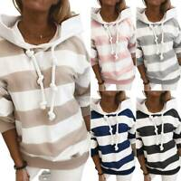 Women's Long Sleeve Thick Striped Thin Hoodie Pullover Jumper Tops Sweatshirt