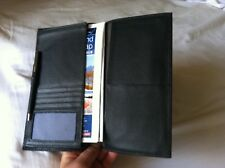 Abercrombie & Kent Black Grain Leather Passport Travel Organizer 9x6 Excellent!
