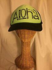 ALOHA HAWAIIAN ISLANDS TRUCKER CAP HAT OSFA BLACK WITH GREEN NEOPRENE