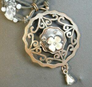 Xanaka Womens Pendant Necklace Brass tone floral enamel Boho costume Jewellery