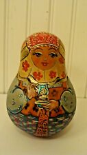 Vintage Russian Wood Hand Painted Roly Poly Matryoshka, Makes Sounds, Signed