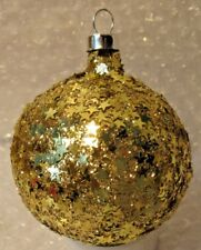 VINTAGE GLASS CHRISTMAS ORNAMENT COMPLTELY COVERED IN GOLD STARS PATRIOTIC
