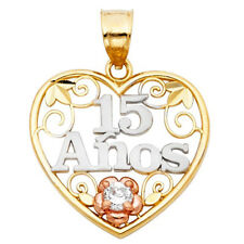 14K Tri Color Gold Floral 15 Anos Quinceanera Love Heart Charm 3/4 inch Pendant