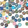 200× Mixed Color Printed Glass Dome Cabochons for Photo Pendant Craft  Making