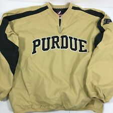 Majestic Purdue Boilermakers Pullover Ripstop Jacket Large Mesh Lined Gold Black