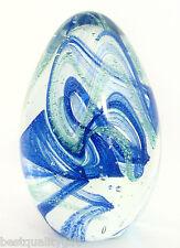 New Art Glass Cobalt Blue+Green Spiral Oval Egg Shape Paperweight Piece