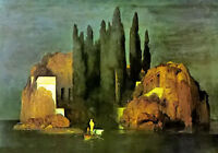 Oil painting arnold bocklin - island of the dead the mysterious island landscape