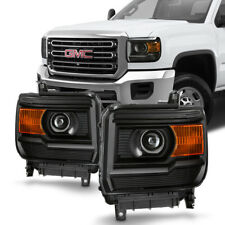 14 15 GMC Sierra 1500/ 2015 2500HD 3500HD Black Replacement Headlight Lamp Pair