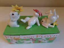 Easter Decor Fitz & Floyd Bunny Blooms Tumblers Bunny Figurines - 2002 -Set of 3