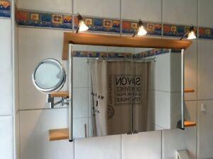 Duscholux Spiegelschrank Bad mit bBeleuchtung 100 cm breit, innen 76cm mit Halou