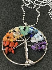 "Chakra Tree of Life Multi Gemstone Wire Charm Tibetan Silver 18"" Rope Necklace"