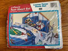 Vintage LOONEY TUNES Homerun Baseball Twin 3 PC Sheet Set Bugs Taz Daffy - NEW