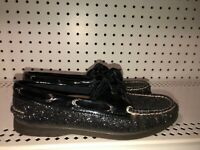 Sperry Top-Sider Womens Casual Boat Shoes Flats Size 7.5 Black Glitter