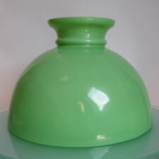 """ANTIQUE GREEN MILK GLASS OIL LAMP SHADE ALADDIN LIBRARY STUDENT 11"""" 13/16 fitter"""