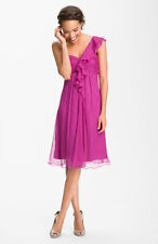 Amsale NWT$280 One Shoulder Bridesmaid Dress Crinkle Chiffon Sz 4 Fushia G654C