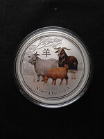 2015 1/2 oz .999 Fine Silver Australian Year Of The Goat Colored Coin 50kmintage
