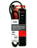 Prime 6 Outlet Surge Protector  Black PB802225 4' Cord General Purpose ON/OFF
