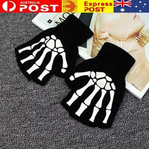 1Pair Unisex Women Knitting Warmer Black Skeleton Claw Gloves Fingerless E R1U
