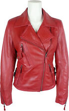 UNICORN Womens Fashion Biker Style Real Leather Jacket - Waxed Red #GB