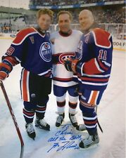 GUY LAFLEUR AUTHENTIC SIGNED 8x10 PHOTO       WITH GRETZKY+MESSIER      TO CHRIS