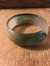 Peacock Feather Lucite Bangle Bracelet