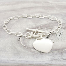 Sterling Silver Heart Tag Bracelet with Toggle Clasp