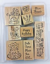 Stampin' Up! Something to Celebrate Rubber Stamp Birthday Baby Shower Gift RSVP