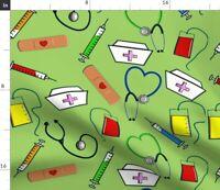 Nurse Registered Medical Nursing Scrub Top Fabric Printed by Spoonflower BTY