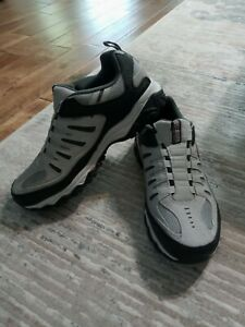 Men's Skechers 51866EWW  After Burn Gray /BLK Slip On Athletic Shoes SZ 11.5 EWW