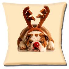 "Sleeping English Bulldog Red Nose Antlers Christmas 16""x16"" 40cm Cushion Cover"