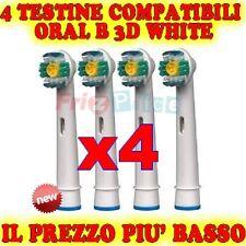 Testine 4 WHITE 3D Spazzolino Ricambio Elettrico Compatibili Braun Oral B ej