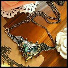Steampunk Enamel Peacock Angel Wings Heart Antique Bronze Necklace+Gift Bag UK