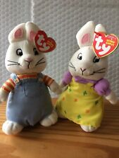 """Ty LICENSED Beanie Baby Babies SET of 2 Max & Ruby 7"""" (Nickelodeon) NEW MWMT"""