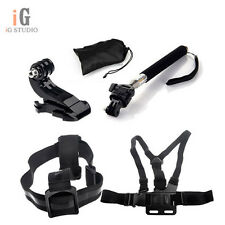 Chest Harness Strap B+Head Strap B+Monopod Tripod Mount+Jhook Mount for GoPro3 2