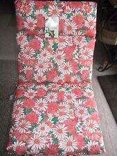 Set of 4 Chair Cushions Patio Daisy Colada Pink & Red Floral Pattern New!