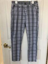 Girl's Wheat Gray White Plaid Twill Pants Size 14