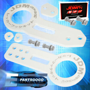 For Nissan Aluminum Anodized White Front Rear Tow Hook Kit Hitch Screw On