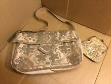 Pretty Small Satin And Beaded Handbag With Acessorise Beaded Purse Used