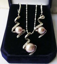 "Beautiful 8-9mm Purple Akoya Cultured Pearl Silver Necklace Earring 18"" Set"