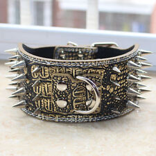 Gold Leather Spiked Studed Dog Collar for Large Dog Pitbull Mastiff Corso