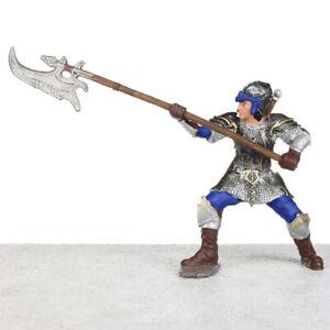 """Schleich World of History Blue DRAGON KNIGHT W/ Pole Arm 3.5"""" Figurine # 72031"""