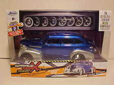 1939 Chevy Deluxe Diecast Model Car 1:24 Garage Worx Kit Jada Toys 8 inch Blue