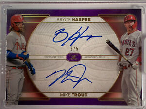 Mike Trout Bryce Harper Dual Auto from 2021 Topps Definitive 2/5 Purple Parallel