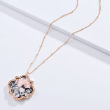 Pave Tortoise Shell Flower Pendent Necklace Long Acetate Necklace Designer Style